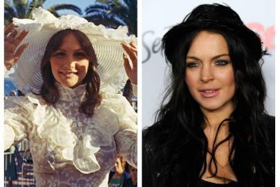 Linda Lovelace 1974-ben és Lindsay Lohan 2010-ben