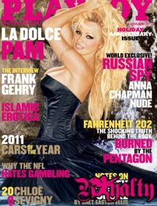 Pamela Anderson amerikai színésznő, modell a Playboy 2011-es januári számának címlapján