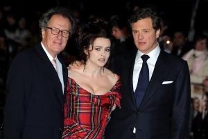 Geoffrey Rush Oscar-díjas ausztrál színész, Helena Bonham Carter brit színésznő és Colin Firth brit színész A király beszéde (The King's Speech) című filmjük bemutatóján, Londonban 2010. október 21-én