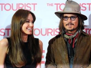 Angelina Jolie és Johnny Depp amerikai színészek Az utazó (The Tourist) című filmjük bemutatóján Berlinben 2010. december 14-én