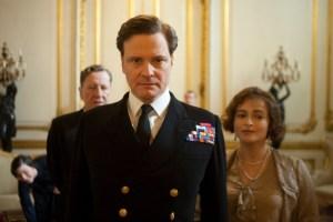 Colin Firth és Helena Bonham Carter brit színészek, valamint Geoffrey Rush Oscar-díjas ausztrál A király beszéde (The King's Speech) című film egyik jelenetében