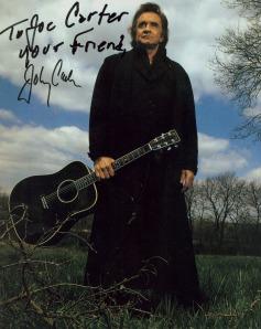Johnny Cash amerikai énekes (1932-2003) dedikált fényképe