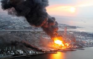 Egy japán város a 8,9-es földrengés után 2011. március 11-én