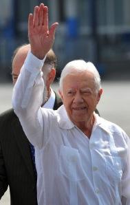 Jimmy Carter egykori amerikai elnök megérkezik Havannába 2011. március 28-án