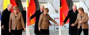 II. Albert belga király és Angela Merkel német kancellár Berlinben 2011. március 29-én