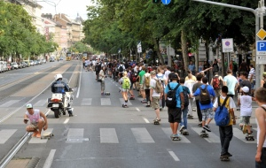A gördeszkások felvonulása Budapesten 2011. augusztus 13-án