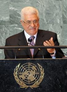 Mahmúd Abbász palesztin elnök felszólal az ENSZ-közgyűlés 66. ülésszakán New Yorkban 2011. szeptember 23-án