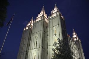 Salt Lake City mormon temploma éjjel (Mészáros Márton felvétele)