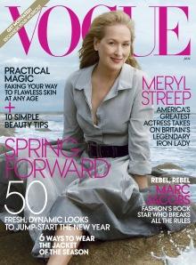 Meryl Streep Oscar-díjas amerikai színésznő a Vouge amerikai divatmagazin 2012. januári számának címlapján