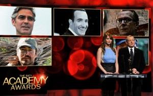 Jennifer Lawrence amerikai színésznő és Tom Sherak, az Amerikai Filmakadémia elnöke bejelenti az Oscar-díjra jelölt férfi színészek nevét Los Angelesben 2012. január 24-én