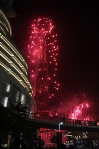 A világ legmagasabb épülete, a Burdzs Kalifa (Kalifa-torony) szilveszer éjjelén, 2011. december 31-én (Fotó: Mészáros Márton)