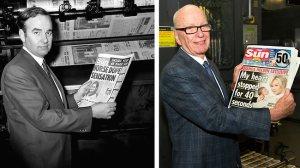 Rupert Murdoch ausztrál-amerikai sajtómágnás a The Sun példányával 1969-ben, és a The Sun on Sunday példányával 2012. február 26-án
