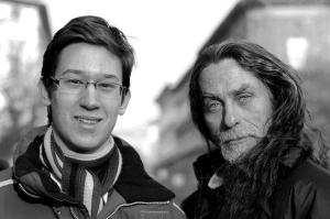 Bicskey Lukács magyar színésszel, a filmem főszereplőjével az Emberség forgatásán Budapesten 2012. január 29-én (Fotó: Szilasi Katalin)