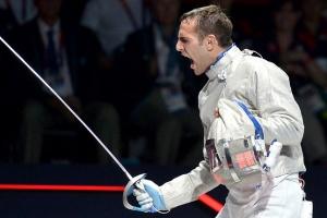Szilágyi Áron a 2012-es londoni nyári olimpiai játékok férfi kard egyéni bajnokságának elődöntőjében 2012. július 29-én.