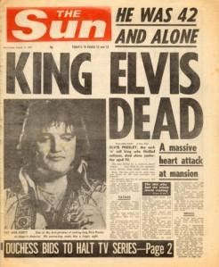 A The Sun 1977. augusztus 17-i példánya a címlapon hozta le Elvis váratlan halálát