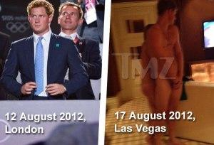 Harry brit királyi herceg a londoni olimpia záróünnepségén 2012. augusztus 12-én, illetve néhány nappal később (a kép alatti dátum helytelen) meztelenül Las Vegasban