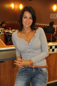 Sarka Kata modell, Hajdú Péter műsorvezető felesége Budapesten 2012. szeptember 13-án (Fotó: Mészáros Márton)