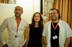 Kulka János, Hámori Gabriella és Bergendy Péter a Karlovy Vary Filmfesztiválon 2012. július 6-án