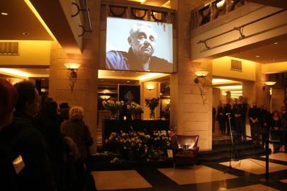 Hollósi Frigyes Jászai Mari-díjas színművészt (1941-2012) búcsúztatják a Nemzeti Színházban 2012. december 20-án (Fotó: Mészáros Márton)