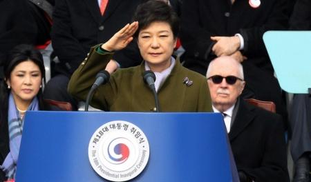 Beiktatják Pak Gun Hje dél-koreai elnököt a dél-koreai fővárosban, Szöulban 2013. február 25-én