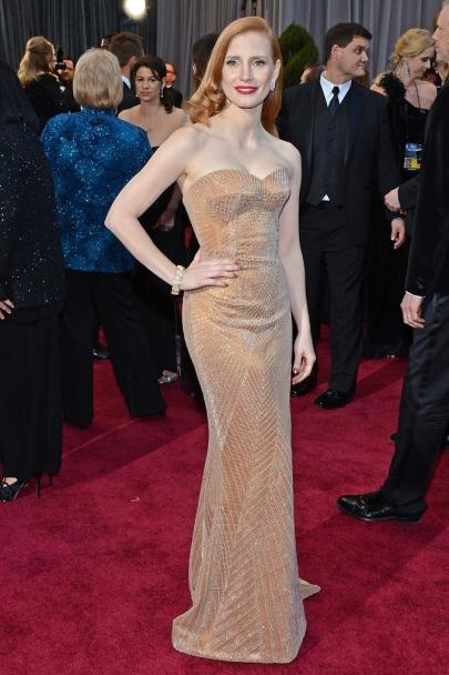 Jessica Chastain amerikai színésznő a 85. alkalommal megrendezett Oscar-díjkiosztó gálán a Los Angelesben 2013. február 24-én