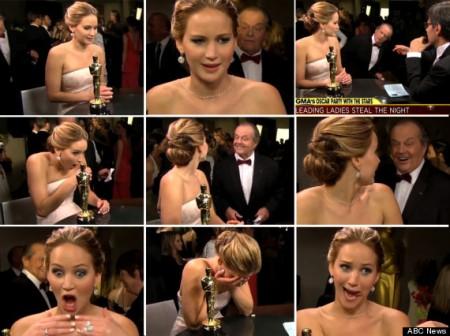 Jennifer Lawrence és Jack Nicholson első találkozása az Oscar-gálán 2013. február 24-én