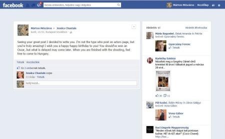 Jessica Chastain amerikai színésznő válasza a neki írt születésnapi köszöntésemre a Facebook közösségi oldalon 2013. március 27-én