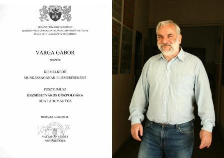 Varga Gábor Apáczai-díjas pedagógus, Alsóerdősori Bárdos Lajos Általános Iskola és Gimnázium nyugalmazott igazgatója