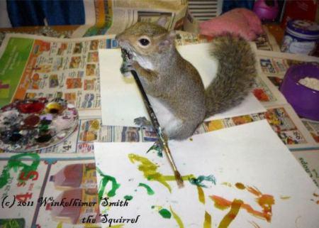 Winkelhimer Smith, a világ egyetlen mókusa, aki képeket fest
