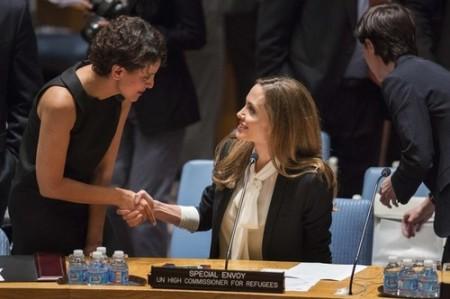 Angelina Jolie Oscar-díjas amerikai színésznő az ENSZ Biztonsági Tanácsának ülésén a szervezet New York-i székházában 2013. június 24-én