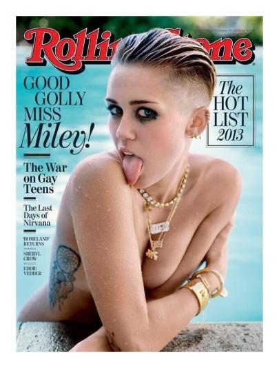 Miley Cyrus amerikai énekesnő a Rolling Stone amerikai zenei magazin 2013 októberi címlapján