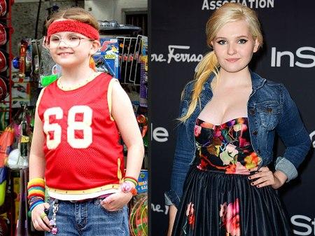 Abigail Breslin A család kicsi kincse című film forgatásán 2005-ben és a vörös szőnyegen 2013-ban