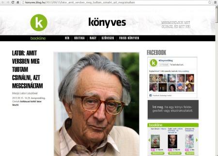 A Könyvesblogon jelent meg a Lator Lászlóval készített interjúm