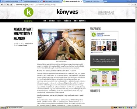 A Könyvesblogon jelent meg a Nemere Istvánnal készített interjúm