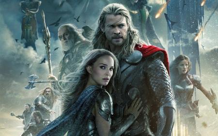A Thor: Sötét világ (Thor: The Dark World) című film posztere Chris Hemsworth-tel és Natalie Portmannel