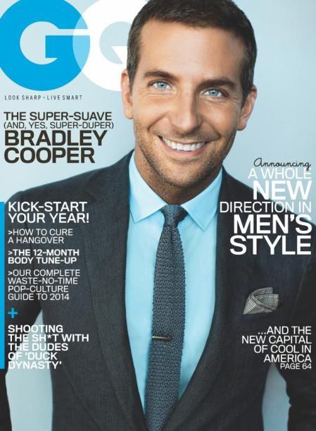Bradley Cooper amerikai színész a GQ magazin 2014 januári címlapján