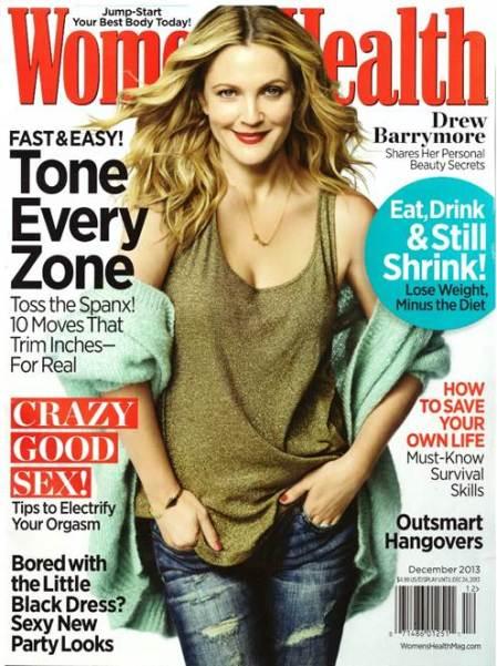 Drew Barrymore amerikai színésznő a Women's Health amerikai magazin 2013 decemberi címlapján