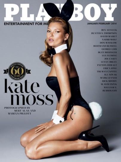 Kate Moss brit szupermodell a Playboy amerikai férfimagazin megalapításának 60. évfordulóját ünneplő 2014 január-februári címlapján