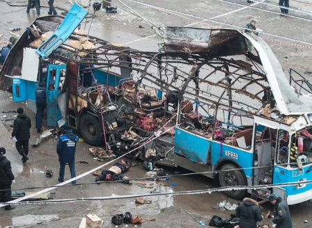 Felrobbantott trolibusz a volgográdi piac közelében 2013. december 30-án