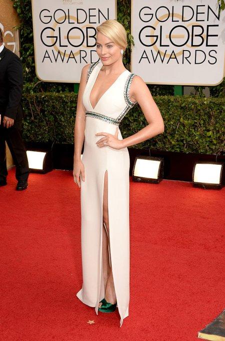 Margot Robbie ausztrál színésznő a 71. alkalommal odaítélt Golden Globe-díjak átadási ünnepségén Los Angelesben 2014. január 12-én
