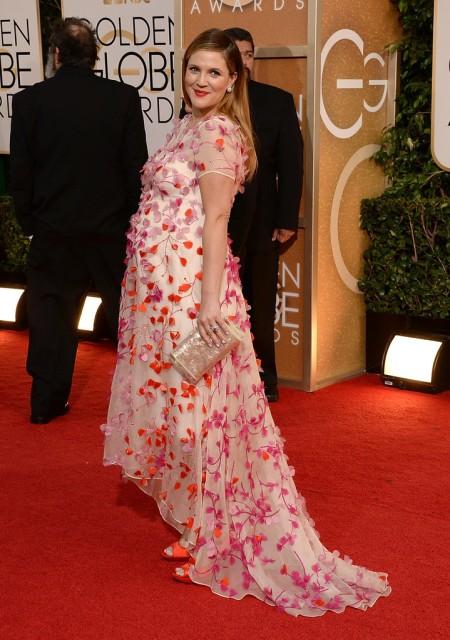 Drew Barrymore amerikai színésznő a 71. alkalommal odaítélt Golden Globe-díjak átadási ünnepségén Los Angelesben 2014. január 12-én