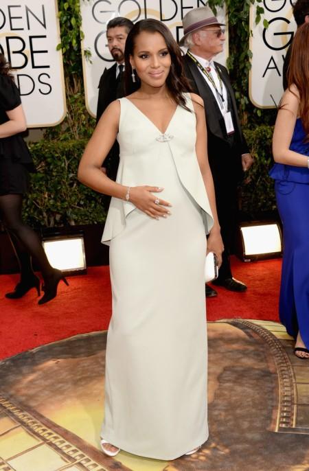 Kerry Washington amerikai színésznő a 71. alkalommal odaítélt Golden Globe-díjak átadási ünnepségén Los Angelesben 2014. január 12-én