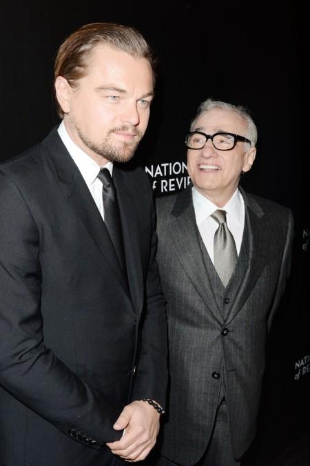 Martin Scorsese amerikai rendező és Leonardo DiCaprio amerikai színész az Amerikai Filmkritikusok Testületének (National Board of Review) díjátadó ünnepségén New Yorkban 2014. január 7-én