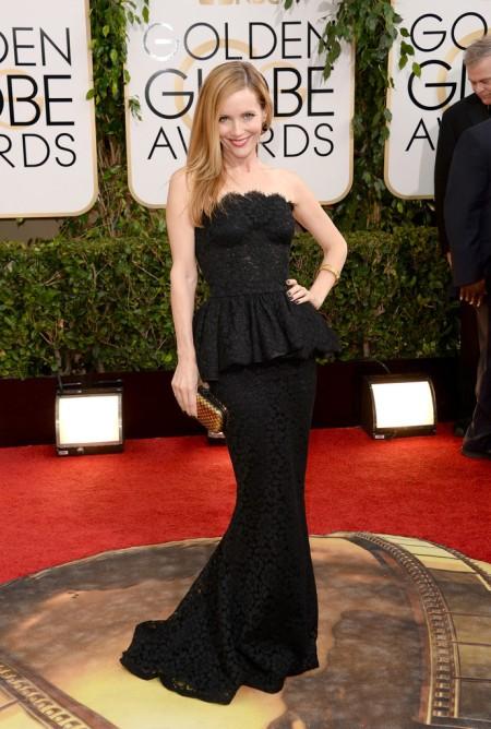 Leslie Mann amerikai színésznő a 71. alkalommal odaítélt Golden Globe-díjak átadási ünnepségén Los Angelesben 2014. január 12-én