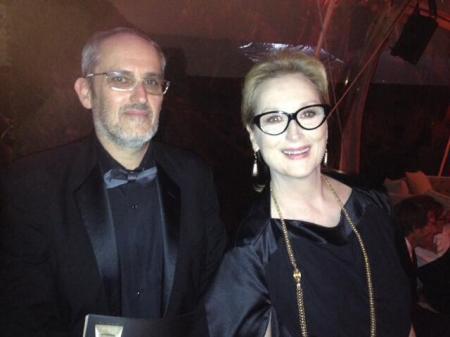 Szász János magyar filmrendező és Meryl Streep Oscar-díjas amerikai színésznő Los Angelesben 2014. január 12-én (Forrás: Facebook/Szász János)