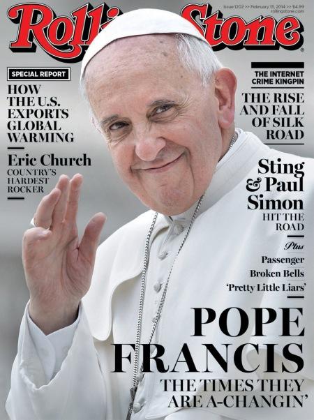 Ferenc pápa a Rolling Stone amerikai vezető zenei-közéleti lap címlapján 2014 februárjában