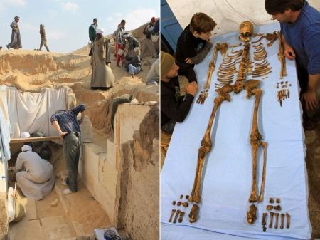 Szenebké fáraó csontjai és sírja az egyiptomi Sohag városa környékén (2014 január)
