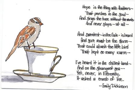 """Emily Dickinson Tollas kis jószág a """"remény"""" című műve"""