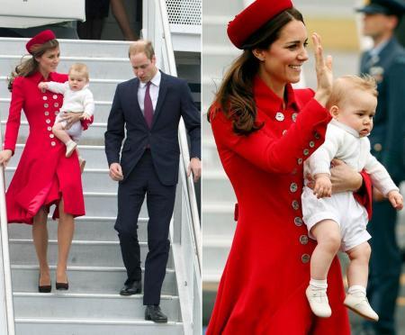 Vilmos cambridge-i herceg és neje, Katalin hercegnő, valamint fiúk, György herceg a megérkezik Új-Zélandra 2014. április 7-én