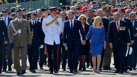 Donald Tusk lengyel kormányfő, Jerry Mateparae új-zélandi kormányzó, Wieslaw Grudzinski lengyel tábornok és Harry herceg a Monte Cassinó-i csata 70. évfordulója alkalmából rendezett megemlékezésen 2014. május 18-án